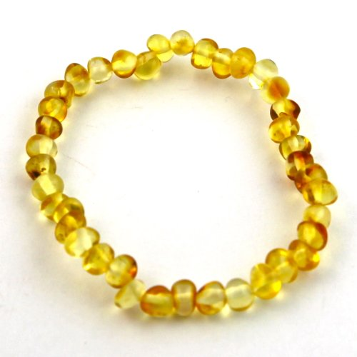 "Hazelaid (TM) 7"" Baltic Amber Lemon Bracelet (on elastic)"