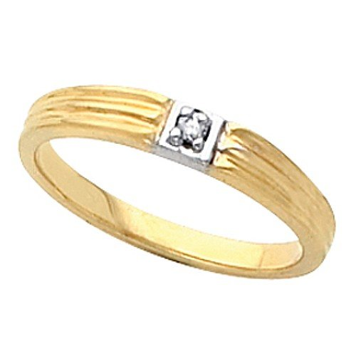 14K Two-Tone Gold Diamond Promise Ring - 0.02 Ct. - Size 7.5