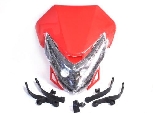 Red Street Fighter Bike Motorcycle Universal Dirt Bike Led Vision Headlight