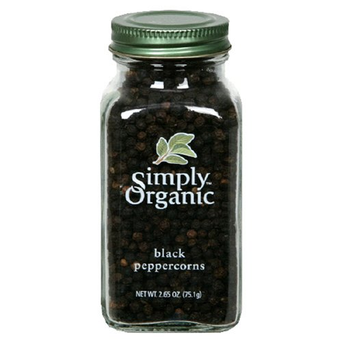 Simply Organic Peppercorns, Black Whole Certified