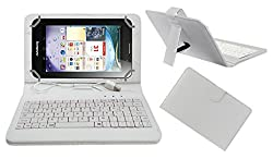 ACM PREMIUM USB KEYBOARD TABLET CASE HOLDER COVER FOR LENOVO IDEA PAD A3000 With Free MICRO USB OTG - WHITE