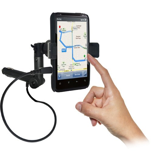 Amzer Amz93413 Lighter Socket Phone Car Mount With Charging And Case System For Htc Evo Design 4G, Htc Hero S - Retail Packaging - Black