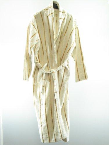 Flauschiger Bademantel aus Baumwolle in weiß-gold