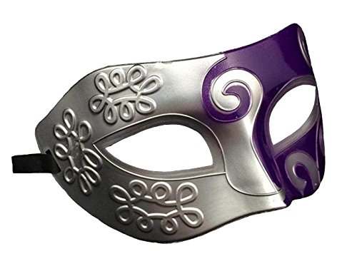 halloween mask Half face painting masks realistic silicone masquerade Knight Prince masks japanese mardi gras (Silver purple)