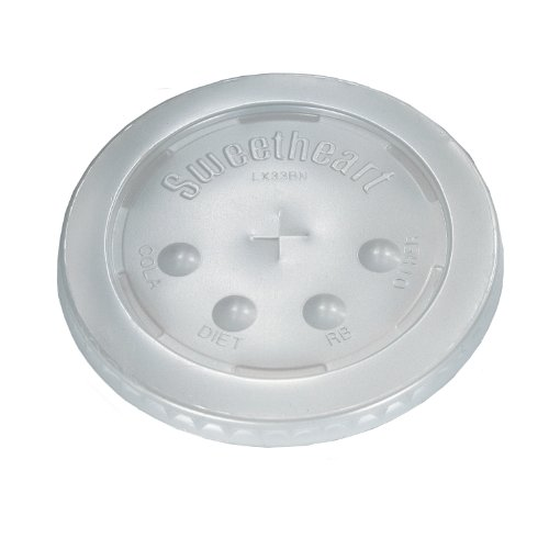 """SOLO LX33BN-0100 Polystyrene Flat Lid for Cold Cup, Straw Slots, Identification Buttons, 4.4"""" x 0.3"""", Translucent (Case of 960)"""