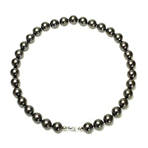 Sterling Silver 12mm Round Black Shell Pearl Necklace, 18