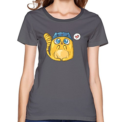 Cute Cat Hat Women T-shirt, O-Neck Shirt