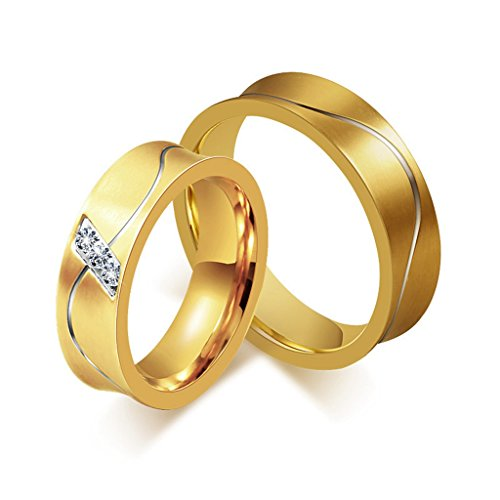 ROWAG Mens Titanium Gold Plated Stainless Steel Couple Rings for Him and Her Womens Cubic Zirconia Wedding Promise Engagement Bands