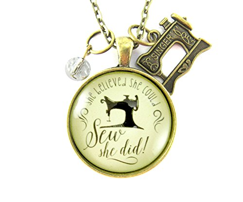"""She Believed She Could SEW She Did Seamstress 24"""" Necklace Antique Bronze Alloy 1.20"""" Vintage Inspired Glass Round Pendant Sewing Machine Charm"""