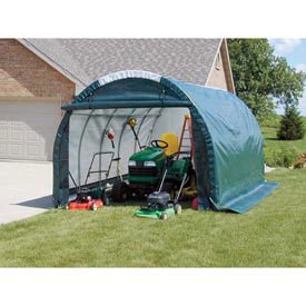 Mini Garage/Storage Shed, Tan, 10'W X 8'H X 18'L (Mini Storage Shed compare prices)