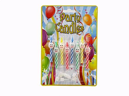 Roxan 8 candeline Happy Face per festa di compleanno con supporti ca. 6 centimetri, 4 colori