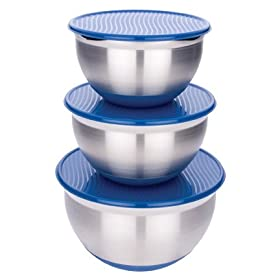 MIU Stainless Steel Mixing Bowl Set with Blue Lids 3-pc.