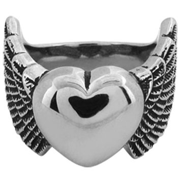 Size 7 -Inox Jewelry Heart and Wing 316L Stainless Steel Ring