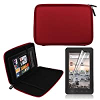 Red 7 Inch EVA Hard Shell Cover Case + LCD Screen Protector for Coby MID7012 7-Inch Kyros Android Touchscreen Tablet by Skque