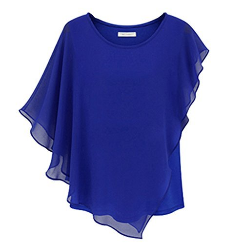 Fashion Story Women Short Sleeve Chiffon Tops - XL - Blue
