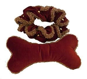 HuggleHounds Holiday Scrunchy Jingle Bell and Bone Dog Toy Set - Medium