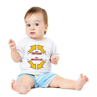 4 x Funshirt Spaßshirt T-Shirt Baby Füttern dann wechseln Gr.56-62