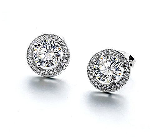 2.00 Carat Ornate Round Cut 7Mm Aaa Cubic Zirconia Stud Earrings Fashion Jewelry For Women 15G