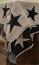 Black Tan Star Reversible Throw Cotton Weave Fringed Edge Country Home D233cor Bedding