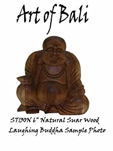 "Art of Bali Zen Garden Carved 6""-7"" Suar Wood Laughing Buddha ST130N"