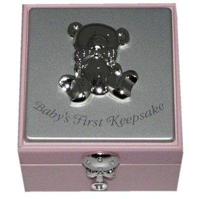 Baby Girl Pink Wooden Keepsake Box Christening Gift