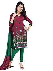 Vatsal Silk Mills Unstitched Dress Material for Women Maroon
