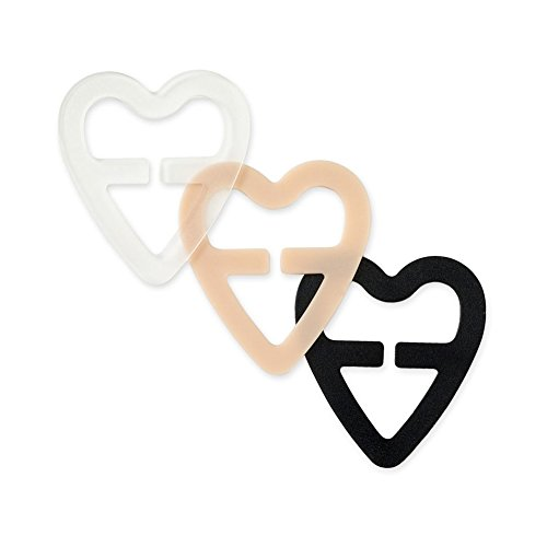 Find Discount Flammi 3pcs Height Adjustable Bra Strap Clips Conceal Cleavage Control in Different Colors (Black Clear Nude) (Heart Shape)