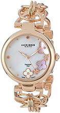 Akribos XXIV Women's AK645RG Lady Diamond Swiss Quartz Diamond Mother-of-Pearl Flower Rose-Tone Circle Link Bracelet Watch