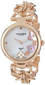 Akribos XXIV Women's AK645RG Lady Diamond Swiss Quartz Diamond Mother-of-Pearl Flower Rose-tone Circle Link Bracelet Watch