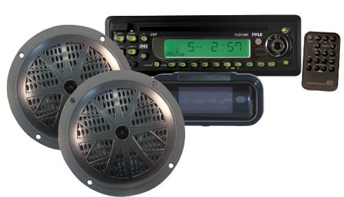 Pyle Marine Stereo Radio Headunit Receiver & Waterproof Speaker Kit, Aux (3.5mm) MP3 Input, CD Player, Remote Control, Includes (2) 5.25'' Speakers, Radio Splash Cover (Hummer H3 Head Unit compare prices)