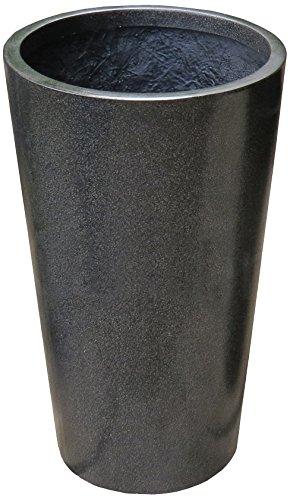 Algreen Acerra 12 by 20-Inch Round Planter Pot, Medium, Black Granite