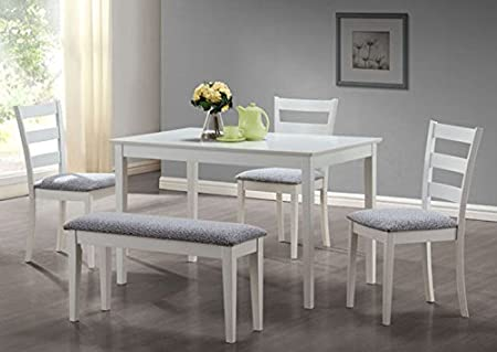 WHITE 5PCS DINING SET WITH A BENCH AND 3 SIDE CHAIRS (SIZE: 48L X 30W X 30H)