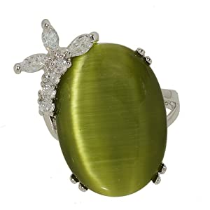 Dusty Olive Green Cat Eye Big Oval Single Stone Cocktail Fashion Ring With Side Spray of Cubic Zirconia Size 5