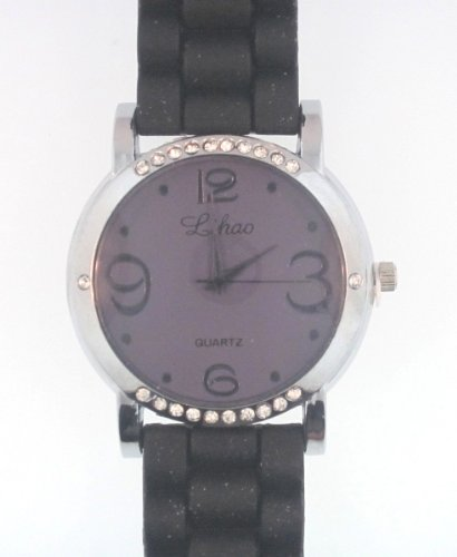 Black Silicone Rubber Gel Watch Link Look Ceramic Style. Color Of Face Coordinates With Band Color. Top And Bottom Of Bezel Are Diamond Studded.