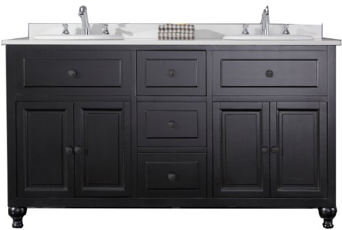 OVE Decors KensingtonDBL-VB Double Vanity with White Marble Countertop and Double Ceramic Basins, 60-Inch Wide, Dark Stain