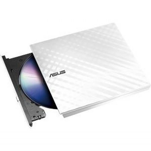 ASUS SDRW-08D2S-U/W/G/ACI/AS Computer International Direct External Slim White 8X DVD-RW - Stylish Diamond Cut Design External Slim DVD-RW Optical Drive