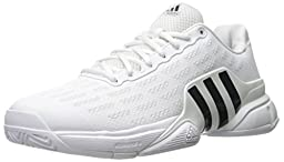 adidas Performance Men\'s Barricade 2016 Tennis Shoe, White/Collegiate Navy/Kurz Silver Foil, 10 M US