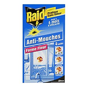 Insecticide autocollant raid anti mouches forme fleur x4 cuisine maison - Huile essentielle anti mouche maison ...