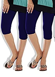 Lux Lyra Girls Womens Cotton Capri ,Blue ,Free Size