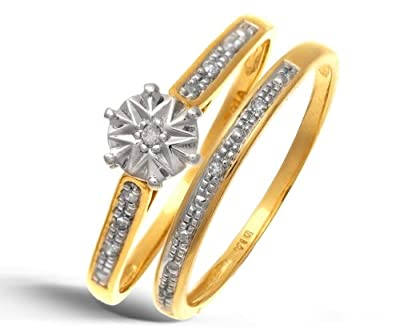 Ariel 9ct Yellow Gold 0.05ct Diamond Bridal Set Ring