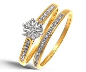 Ensemble Bague de fiançailles et alliance Femme - Or Jaune 375/1000 (9 Cts) 1.7 Gr - Diamant - T 49