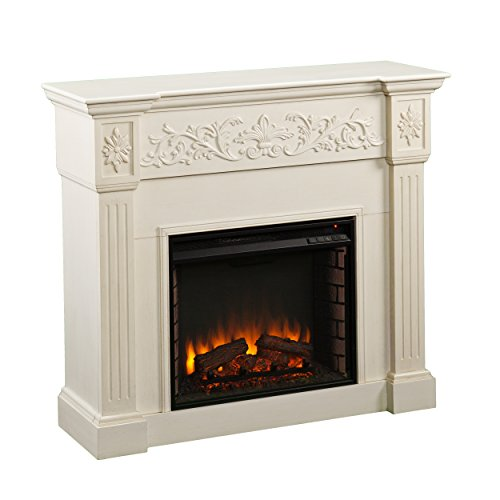 Calvert Carved Electric Fireplace - Ivory (White Led Fireplace compare prices)