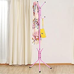 Deziredeal wrought iron coat hanger rack creative fashion bedroom for hanging clothes shelves, wrought iron racks standing coat rack - PINK