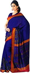 Miraan Silk Golden Border Saree (SDE5123_Blue)