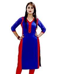 Blue & Red Color Cotton Printed Stitched Kurti-H469KIC2002CN by Surat Tex