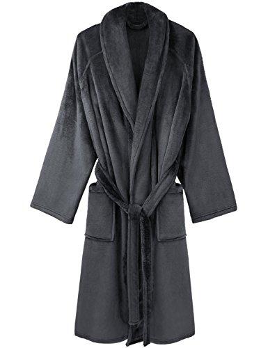 David Archy Men's Super Soft Fleece Robe Shawl Collar Bathrobe (Dark Gray,L/XL) (Cool Bath Robes For Men compare prices)