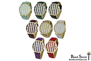Wholesale Lot of 12 Pieces May Striped Leather Watches - 9732