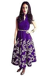 Fabboom Women's Raw Silk Kurti (FMA-20_Purple_Free Size)