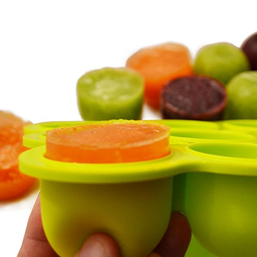 Silicone Baby Food Freezer Tray with Clip-On Lid, Makes 9 X 2 Oz Cubes, BPA Free, FREE 31 Page EBook with 25 Homemade Baby Food Recipes **Lifetime Guarantee** - 1
