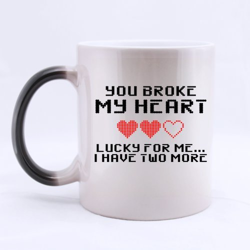 Funny Love Coffee Mug - Hotstyle Gamer Nerd Geek You Broke My Heart Lucky I Have Two More Morphing Coffee Mug Or Tea Cup - 11 Ounces